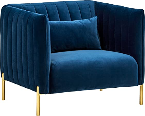 Rivet Frederick Mid-Century Modern Tufted Velvet Living Room Chair, 38\