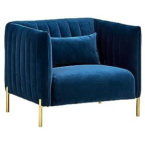 """Rivet Frederick Mid-Century Modern Tufted Velvet Living Room Chair, 38""""W, Navy Blue"""