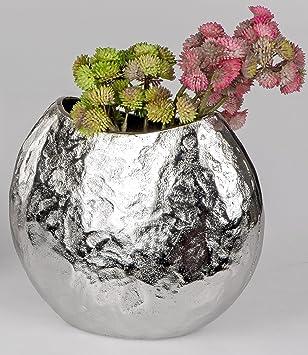 Formano Aluminium Vase Oval Silber Antik Schlichte Eleganz In