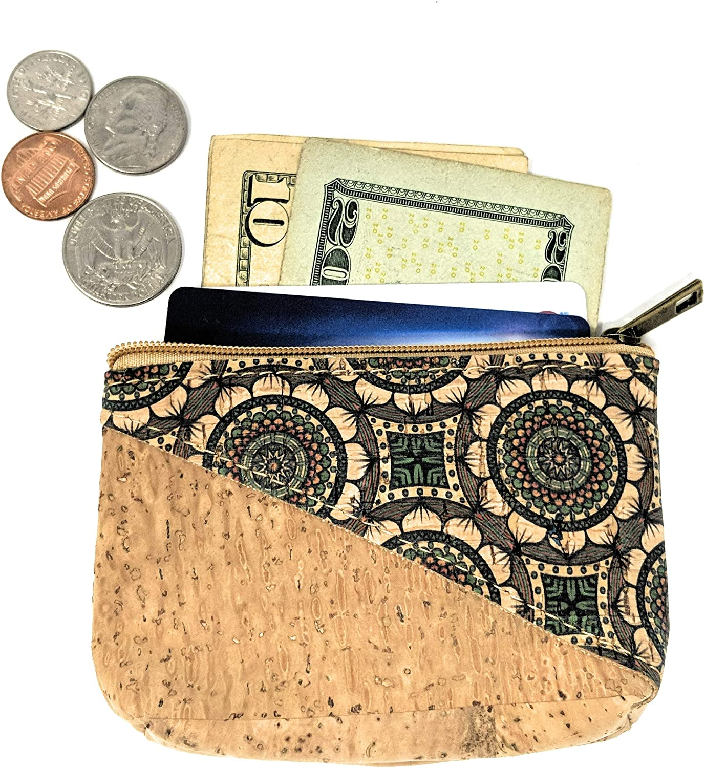 Cork Street Zippered Small Change Pouch Handmade in Portugal from Cork Leather Coin Purse for Women
