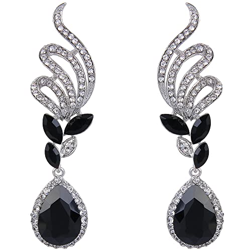 d01a0745e BriLove Wedding Bridal Dangle Earrings for Women Elegant Crystal Vine Leaf  Teardrop Earrings Silver-Tone