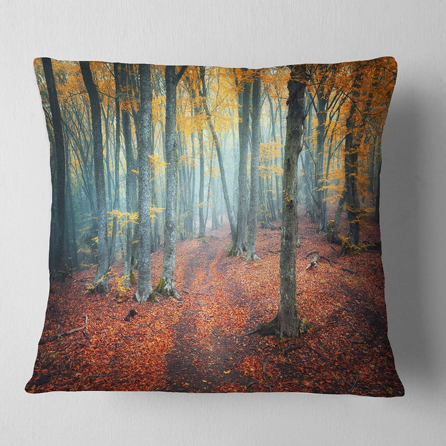 Sofa Throw Pillow 26 in Insert Printed On Both Side x 26 in in Designart CU8619-26-26 Red and Yellow Autumn Forest Landscape Photography Cushion Cover for Living Room