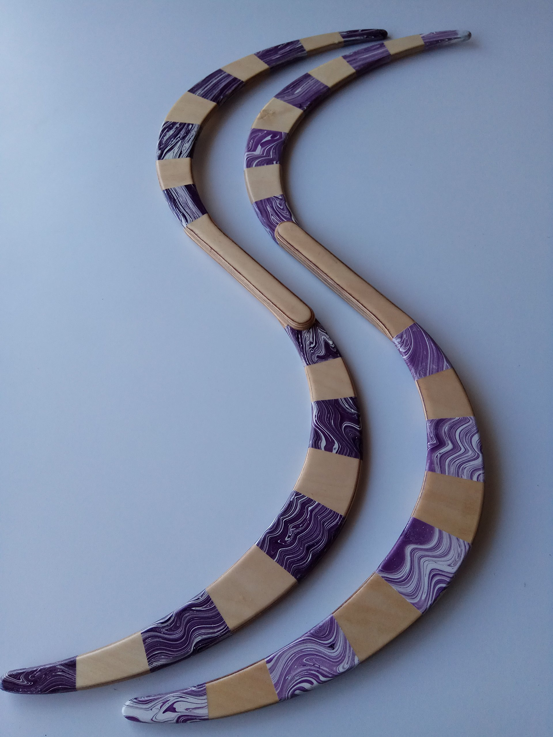 Purple and Natural Stripes Buugeng Juggling S Staff Hand Made Pair With Carry Bag
