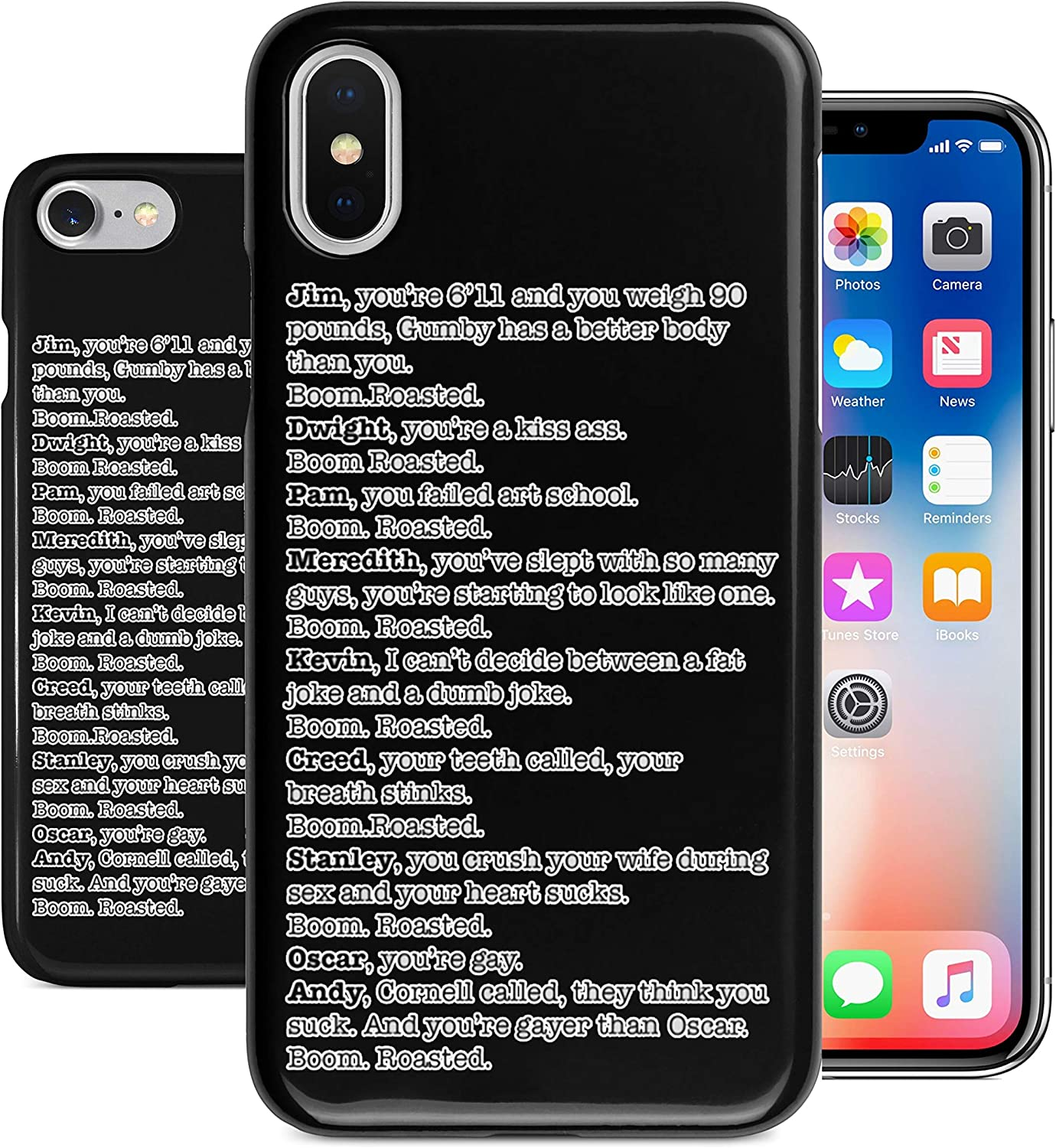 BrilliantCustoms New Boom. Roasted. The Office Michael Roast Funny Joke iPhone Case | iPhone 6 6s 6+ 7 7+ 8 8+ X XS XR Max | Black (iPhone XR)