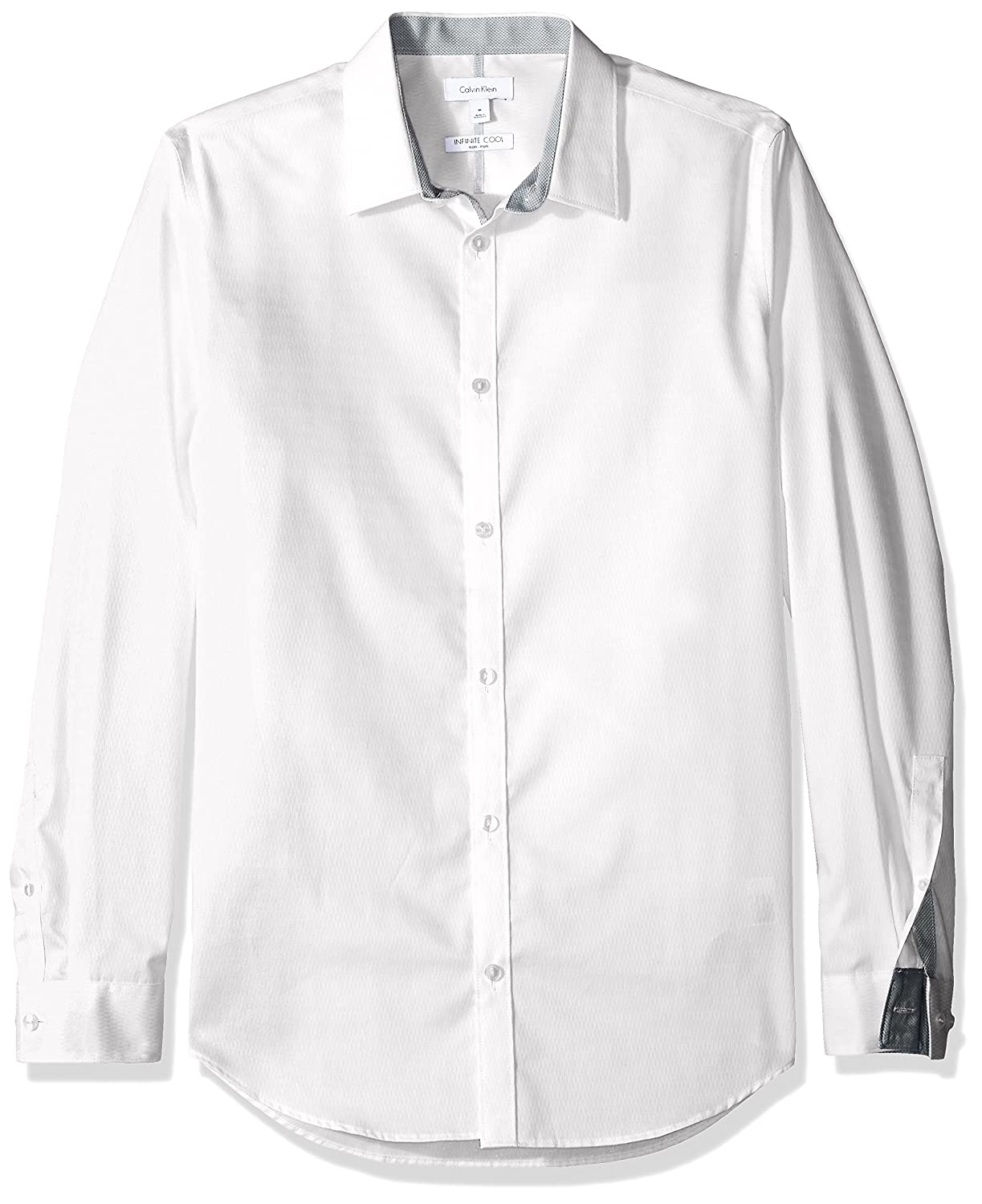 Cross border:- Calvin Klein Men's Chainlink Dobby Infinite Cool Long Sleeve Button Down Shirt low price