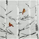 Paperproducts Design 3251059 Holiday Paper Napkin for Cocktail , Winter Birch, 5 by 5-Inch, Silver