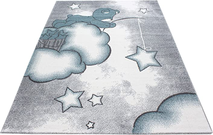 Blanc Tapis rectangulaire Rond 120 x 120 cm Bleu Gris Bleu Chambre denfant Chambre de b/éb/é SIMPEX Tapis pour Enfant Motif /él/éphant /étoiles
