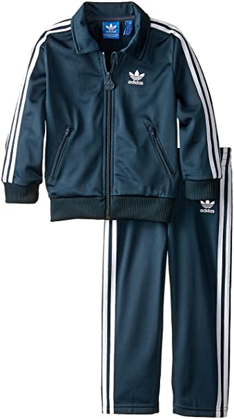 2385b9d26787 Adidas Originals Kids Unisex Firebird Tracksuit (Infant Toddler) Petrol  Ink White Set 18 Months  Amazon.in  Clothing   Accessories