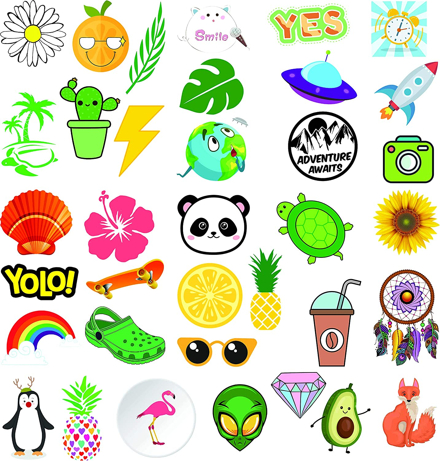 36-Pcs Waterproof VSCO Stickers for Water Bottles Big Stickers Cute,Trendy Stickers for Teens,Girls for Waterbottle Laptop Notebook Tablet Travel Case Extra Durable 100% Vinyl