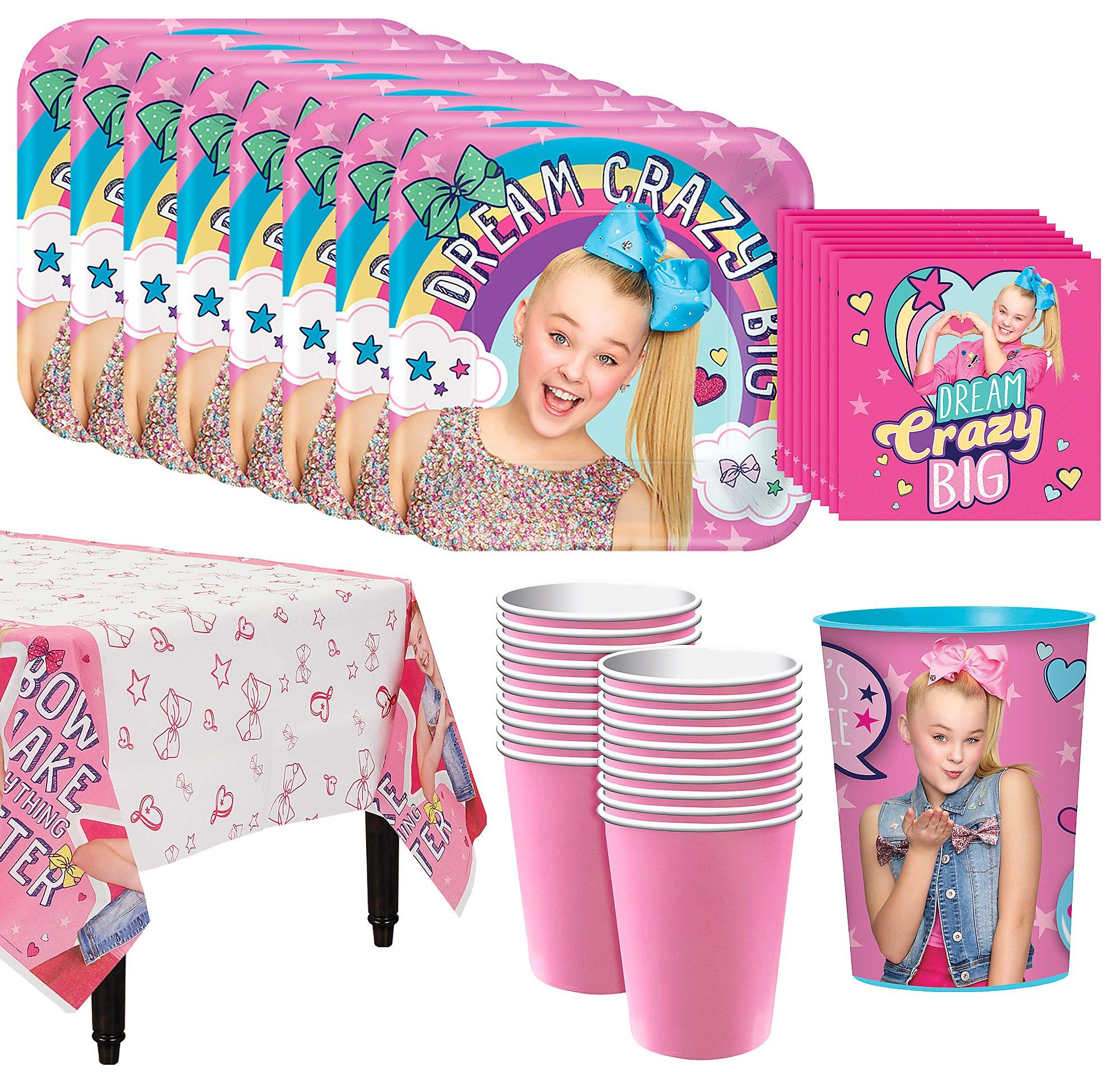 JoJo Siwa Basic Tableware Kit for 16 Guests, 54 Pieces, Includes Table Cover, Plates, Napkins, Cups, and a Favor Cup by Party City