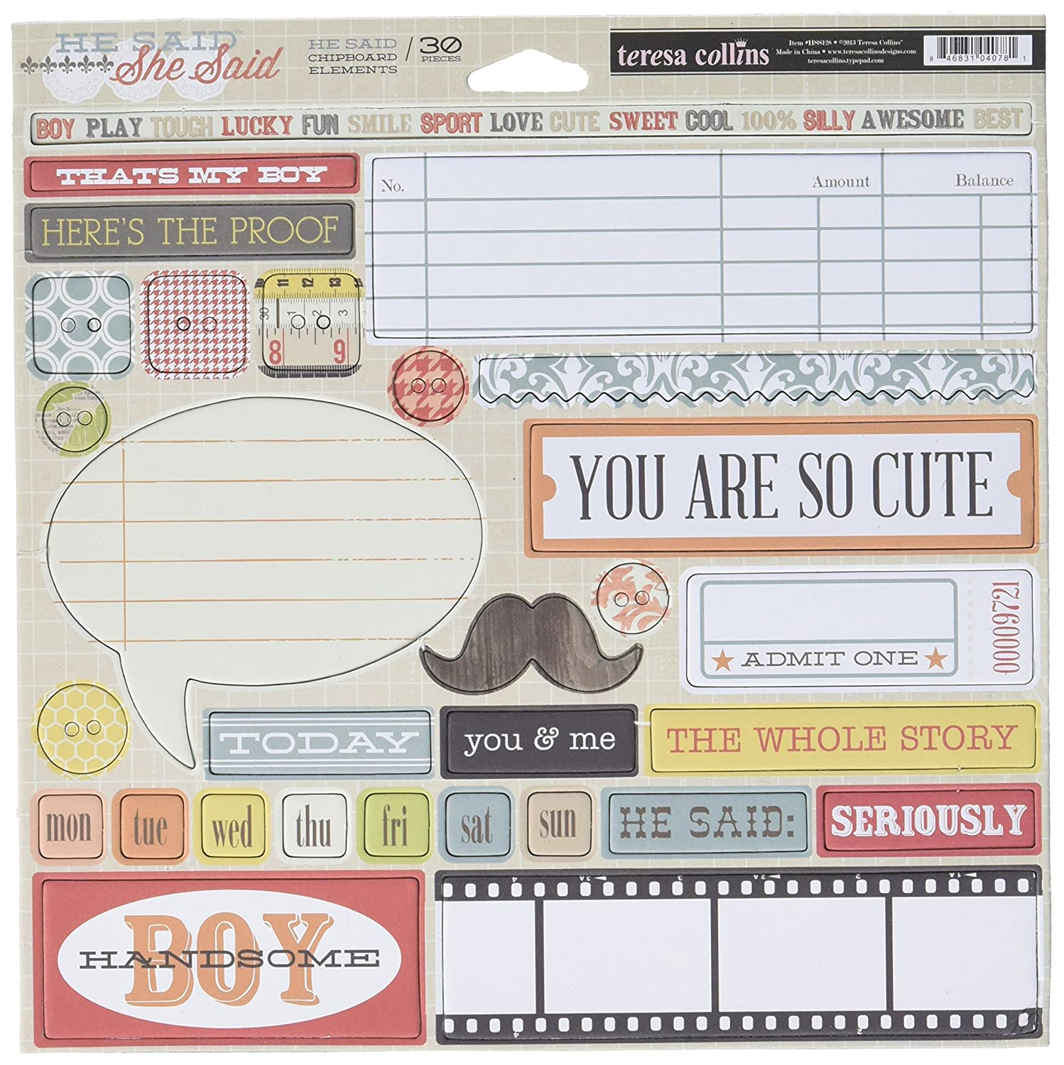 He Said, She Said 12 x 12-inch Teresa Collins Designs He Said Chipboard Elements MMETCHSS128