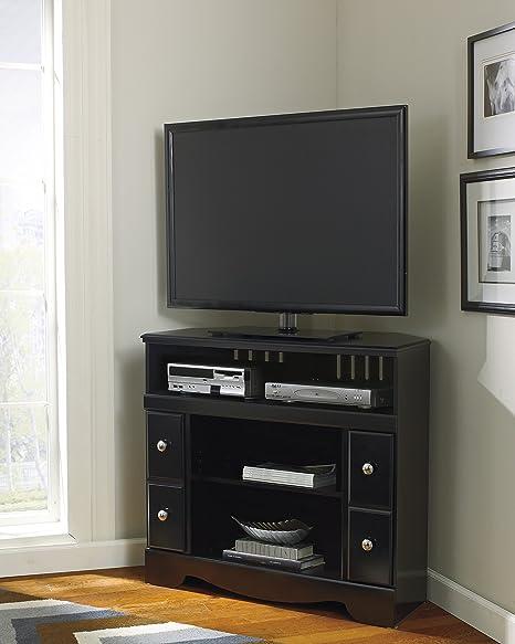 Amazon Com Shay Black Wood Corner Tv Stand Kitchen Dining