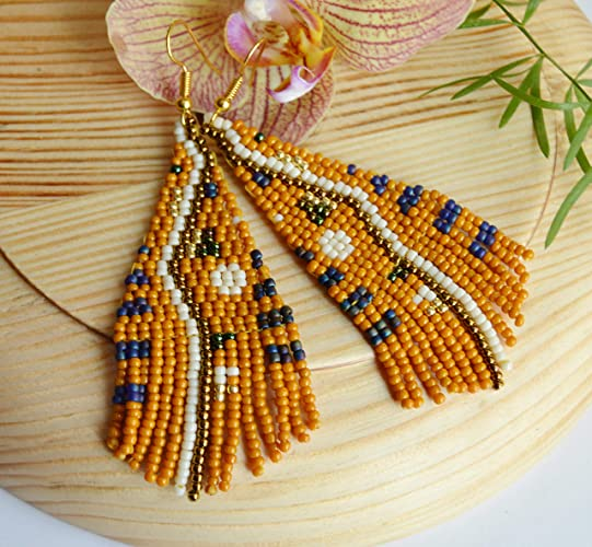 98f37a16a Image Unavailable. Image not available for. Color: Rust Beaded Fringe  earrings Moon sun Tassel long handwoven boho jewelry gifts for her triangle  handmade