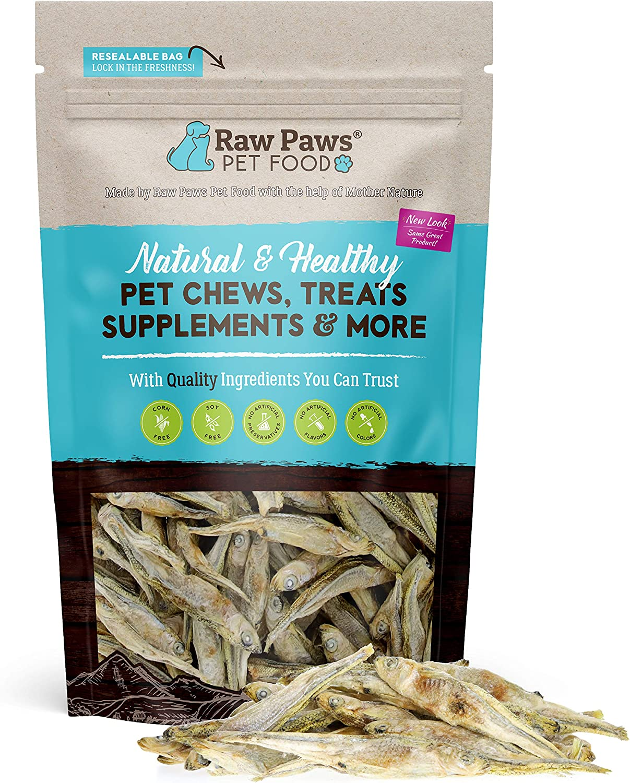 Raw Paws Pet Freeze Dried Minnows for Dogs & Cats - USA Fish Dog Treats - All Natural, Single Ingredient Minnow Cat Treats - Raw Freeze Dried Dog Snacks - Grain Free Cat Reward