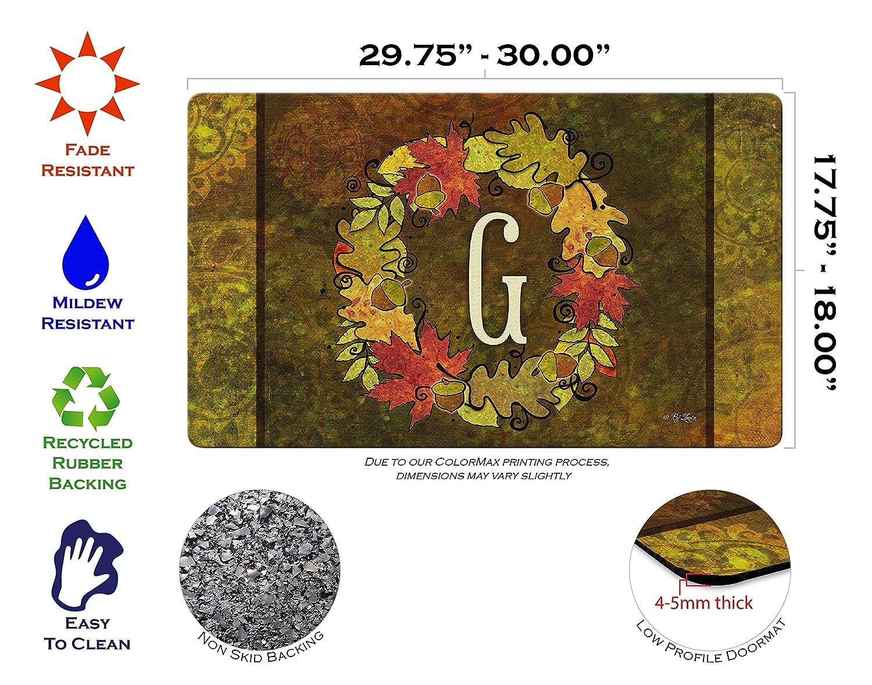 Toland Home Garden Fall Wreath Monogram G 18 x 30 Inch Decorative Autumn Floor Mat Colorful Leaves Doormat