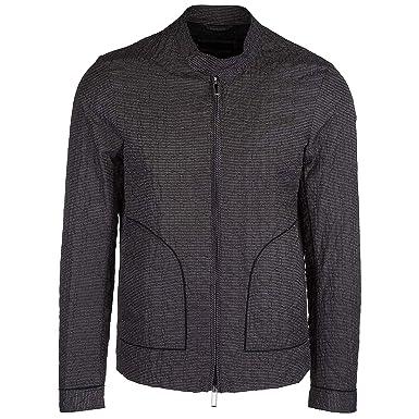 d67b9a777e02 Emporio Armani Blouson Homme microgrigio - blu - Bianco 50 EU  Amazon.fr   Vêtements et accessoires