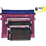 Zipper Bags, 6 PCS 3 Sizes, Mesh Zipper Pouch Clear Zipper Pouch Small Organizer bag Zipper Folder Bag Cosmetic Bags Travel Storage Bags, 3 Sizes, 6 Bags/Package, Colour Random.