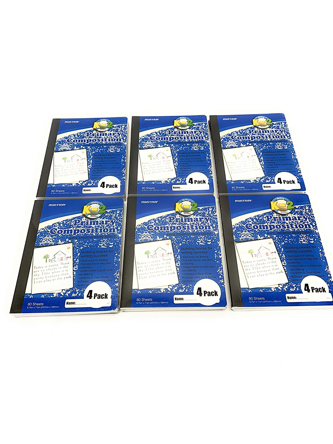 Primary Ruled 6-4pks Hardcover Grade K-2 Mintra Office Composition Books Creative 24 units Notebooks