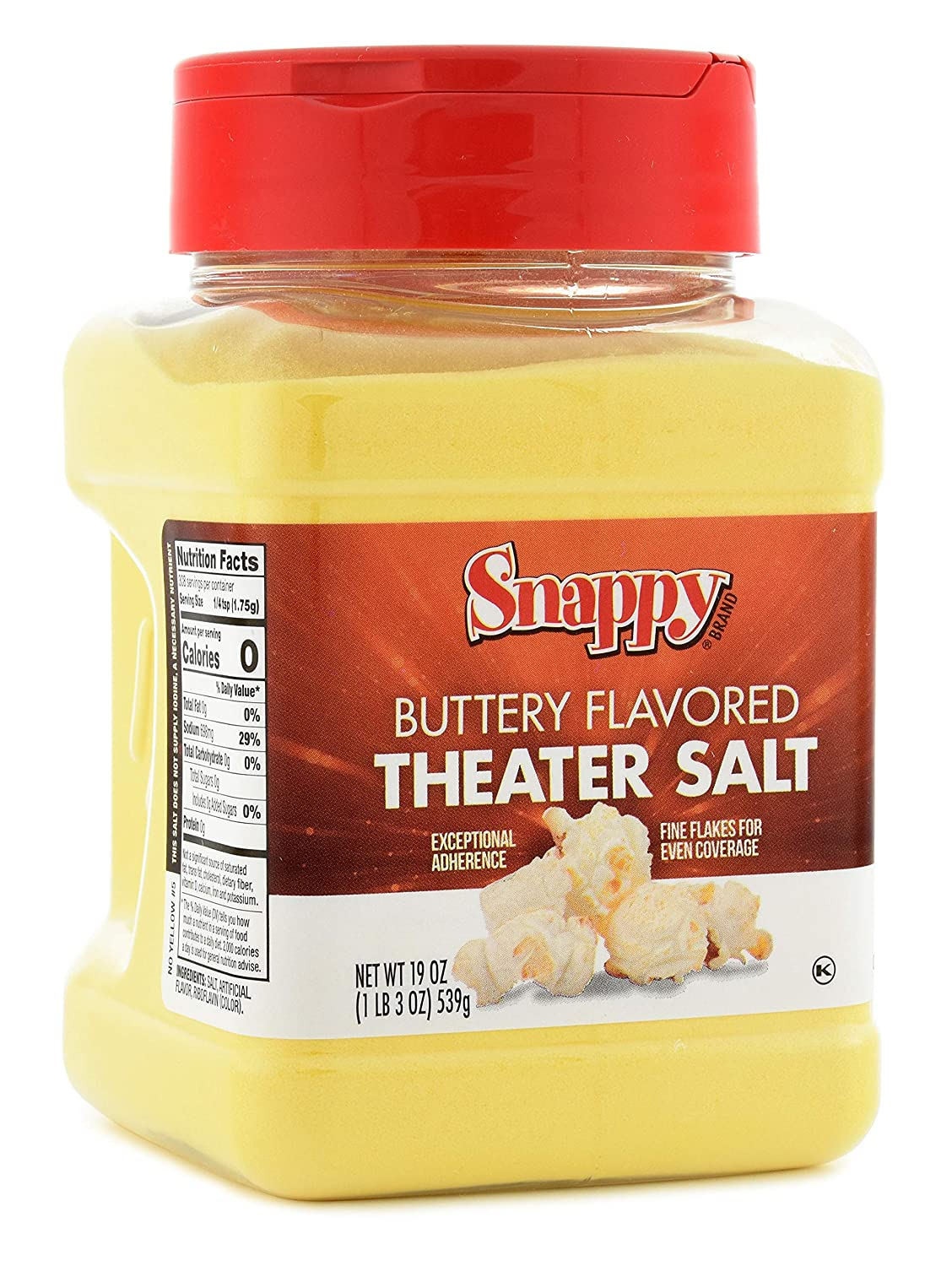 Amazon Com Snappy Buttery Flavored Theater Popcorn Salt 19 Ounce Grocery Gourmet Food