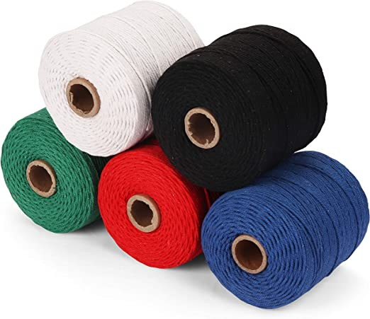 Macrame cordón multicolor (5 piezas) - Tubería algodón Cuerda retorcida Mide 240M de largo y 2-2.5mm de grosor para colgadores de plantas, tapices, atrapasueños y decoraciones bohemias para bodas: Amazon.es: Hogar