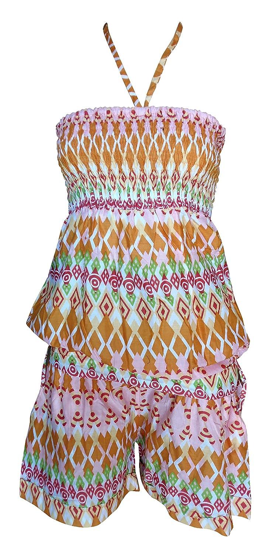 SURNOSE 100% Pure Cotton Printed Short Tube Dress Smoked Dress