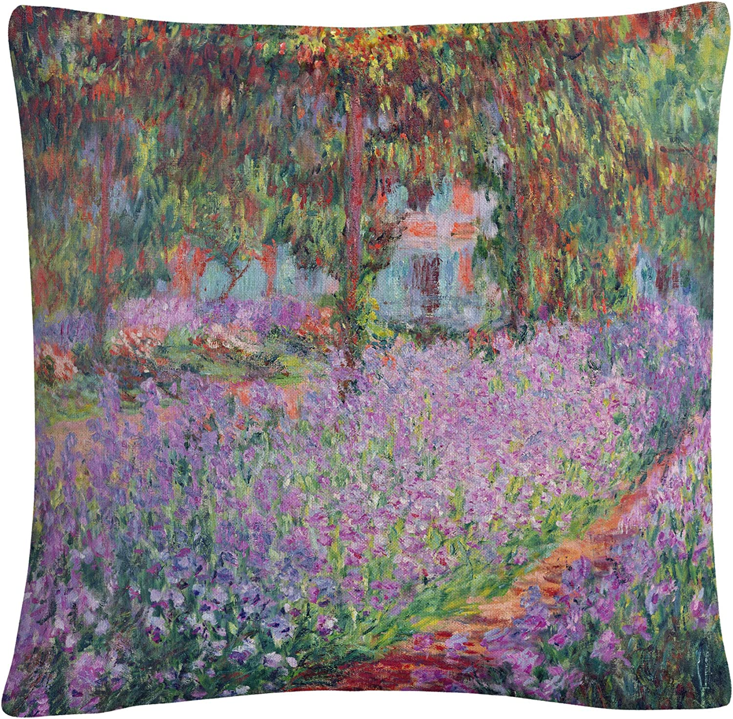 Trademark Fine Art Artists Garden at Giverny by Claude Monet, 16x16 Decorative Throw Pillow, Multi-Color
