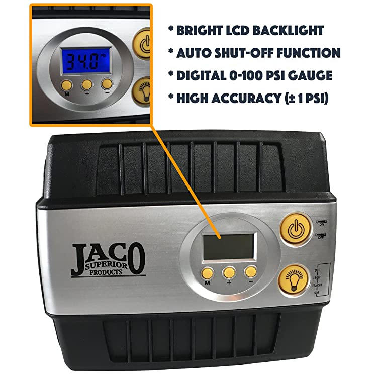 JACO SmartPro Digital Tire Inflator Pump - Premium 12V Portable Air Compressor - 100 PSI