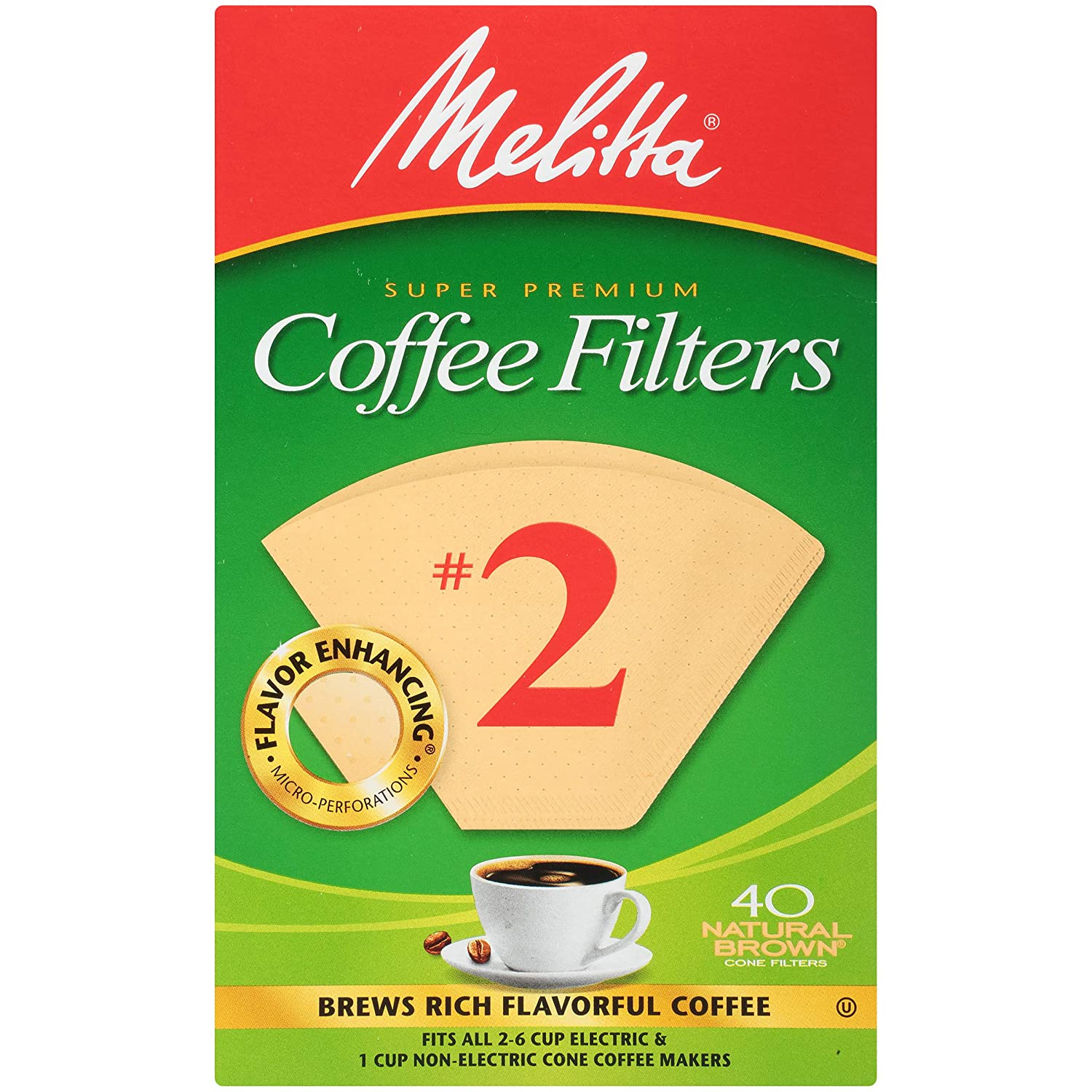 Melitta #2 Super Premium Cone Coffee Filters, Natural Brown, 40 Count (Pack of 12)