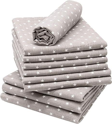 Zollner 10 muselinas para bebé 100% algodón, 80x80 cm, gris con estrellas: Amazon.es: Bebé
