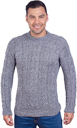 INTI ALPACA Handmade Warm Gray Melange Aran Alpaca Sweater