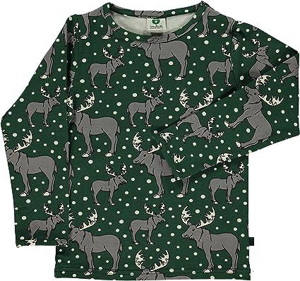 de591eb50af2f3 Smafolk Smafolk Long Sleeve Weihnachten Elch T-Shirt - Jägergrün T-Shirts   Amazon.de  Bekleidung