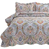 Bedsure 3-Piece Bohemia Paisley Pattern King Size Bedspread(106x96 inches), Lightweight Coverlet Quilt for Spring and…