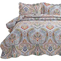 Bedsure 2-Piece Bohemia Paisley Pattern Quilted Bedspread Twin Size(68x86 inches), Lightweight Coverlet Quilt for Spring and Summer,1 Quilt and 1 Pillow Sham
