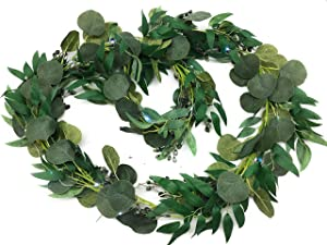 Anchored Decor Seeded Eucalyptus Garland Vine with Willow Leaves and Fairy Led Lights for Indoor and Outdoor use Table Runner Wedding Backdrop Arch Wall Decor Eucalyptus Leaves