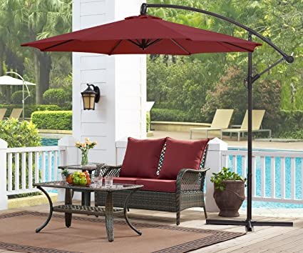 Ulax Furniture 10 Ft Offset Cantilever Hanging Patio Umbrella