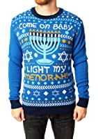 Ugly Christmas Sweater Men's Come On Baby Light My Menorah Hanukkah Sweater