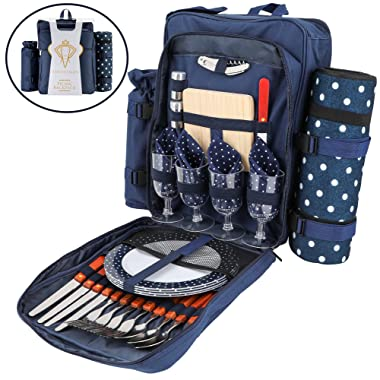 Picnic Backpack For 4 | Deluxe Family Picnic Bag with Insulated Cooler | Quality Picnic Basket Set with Blanket | Comes with Lunch Cooler, Cutting Board, Wine Glasses and Knife | Go Hiking and Camping