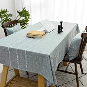 Home Brilliant Striped Tablecloth (52 x 86 inch) Rectangular Tablecloth for Kitchen Faux Linen Table Cover Farmhouse Table Cloth for Buffet, Grey Green