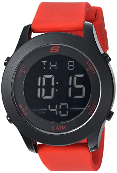 Amazon.com: Skechers Mens Rosencrans Quartz Plastic and Silicone Digital Watch Color: Black, Red (Model: SR5109): Watches