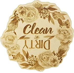 Floral Wreath Wood Dishwasher Magnet | Clean Dirty 3 Inch Round Magnet | Boho Stylish Rustic Shabby Chic Design | Kitchen Magnet for Home Decor, Gift for Men & Women, or Party Favors