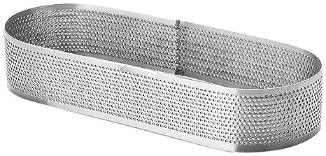 Lacor Molde ARO Oval Perforado 7x20x2 CM, Acero Inoxidable, Gris, 20 cm