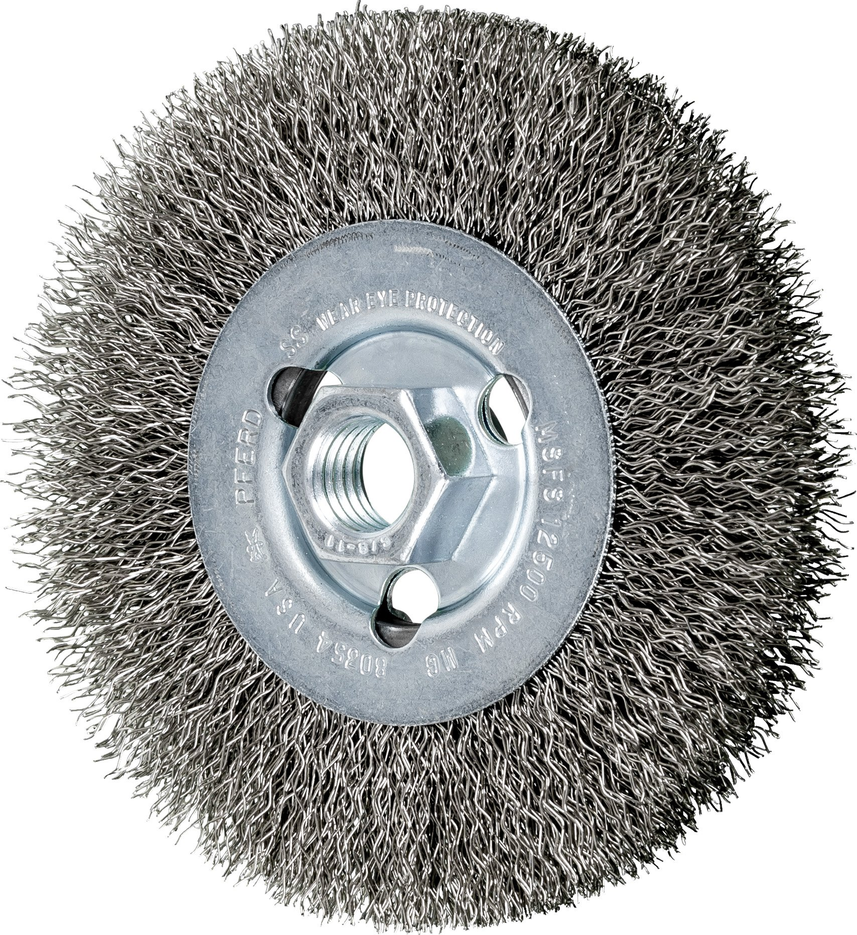 PFERD 80354 Crimped Wheel Brush, Stainless Steel Wire, 4-1/2'' Diameter, 5/8-11 Thread, 0.014 Wire Size, 15/16'' Trim Length, 1/2'' Face Width, 12500 RPM