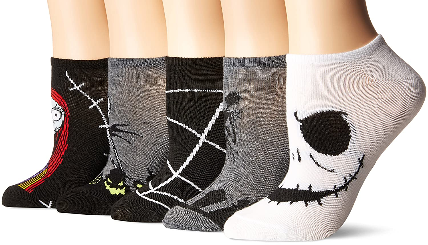 Disney Women\'s Nightmare Before Christmas 5-Pack No Show Socks, Grey ...