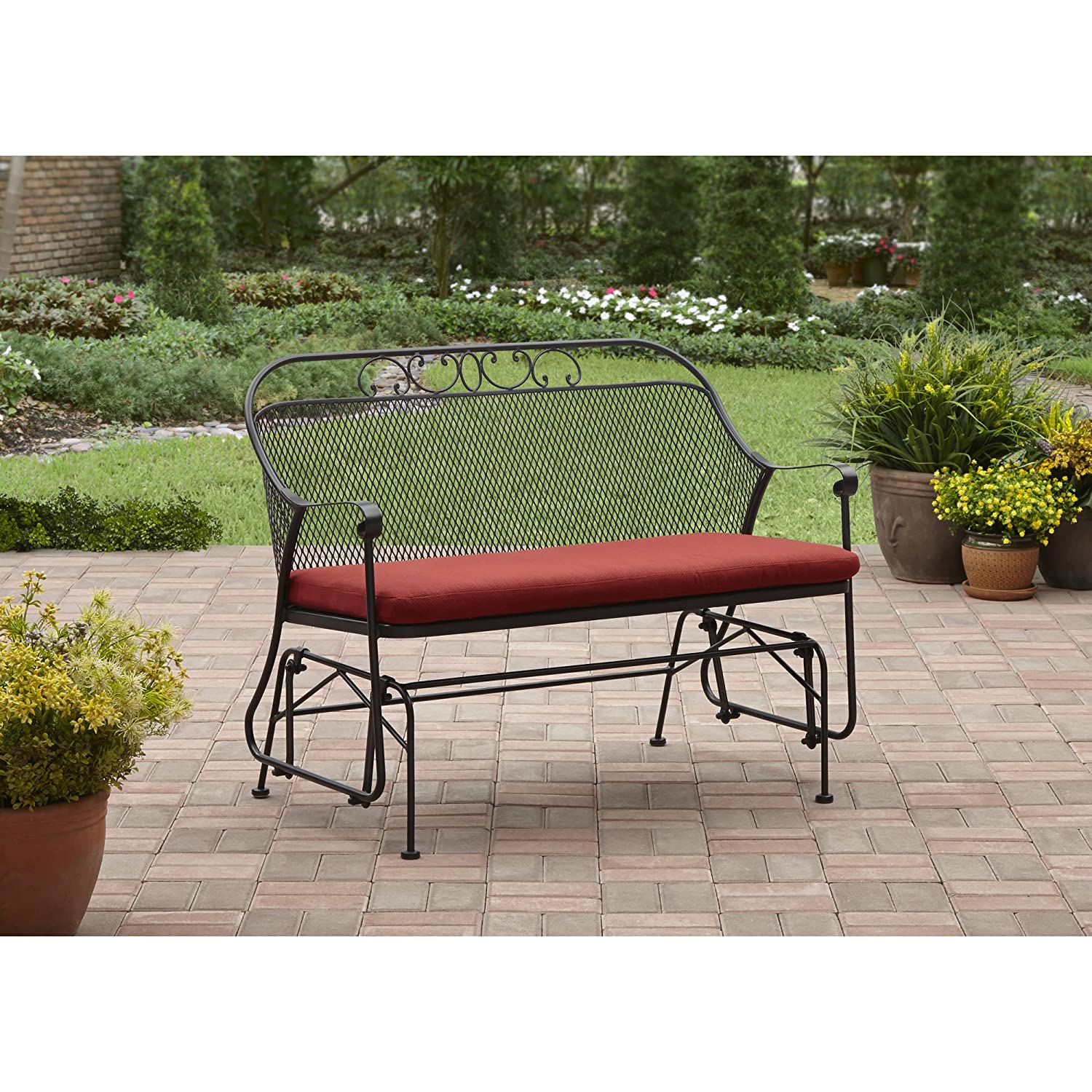 Care 4 home llc patio garden metal glider padded seat bench durable frame seat up to two people uv water resistant perfect for garden porch yard