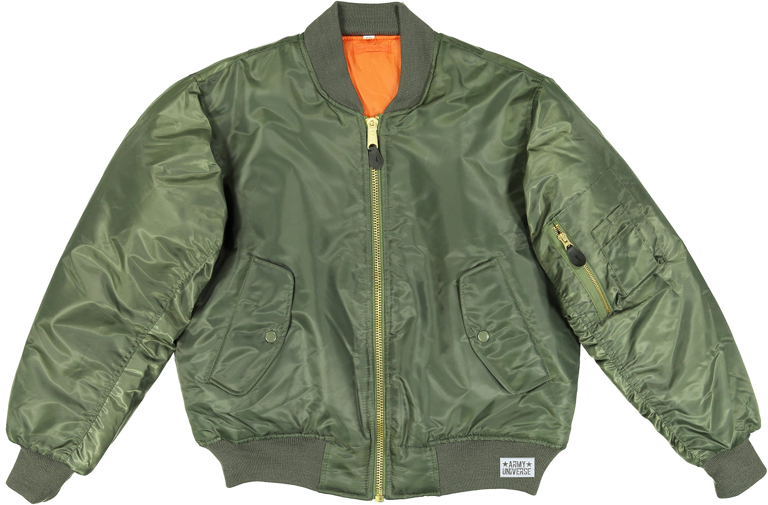 Army Universe MA-1 Air Force Military Bomber Flight Jacket with Pin (Sage Green, Size 6X-Large - Chest 65'' - 69'')