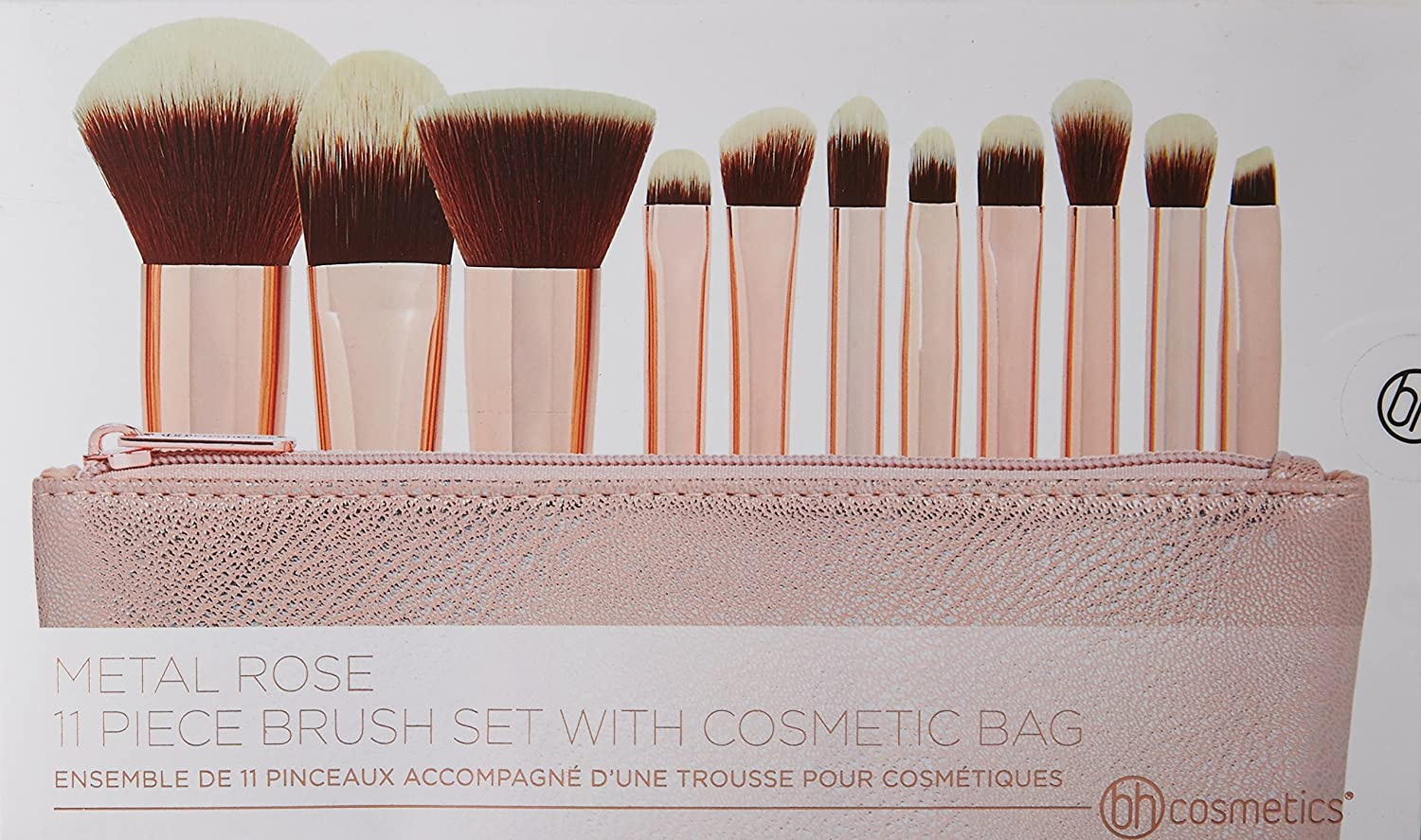 ef77268260154 bhcosmetics Metal Rose - 11 Piece Brush Set With Cosmetic Bag   Amazon.co.uk  Beauty