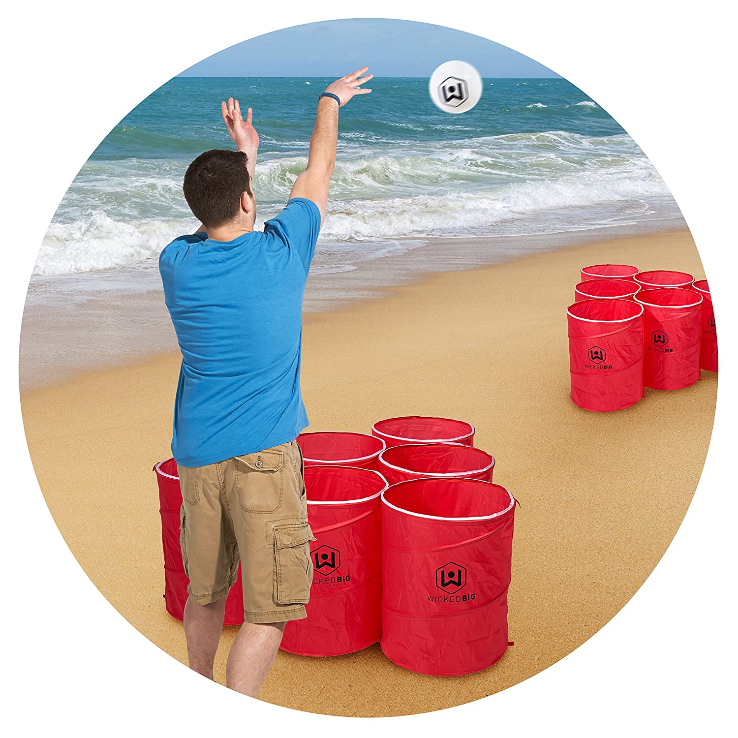 e71f6cfc Amazon.com: Wicked Big Sports Supersized Pong Outdoor/Indoor Sport Tailgate  Games, 6 Cups: Toys & Games