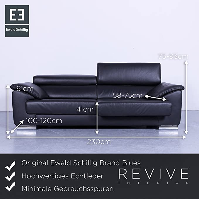 Amazonde Ewald Schillig Brand Blues Leder Sofa Schwarz Dreisitzer Couch Echtleder Funktion 5634