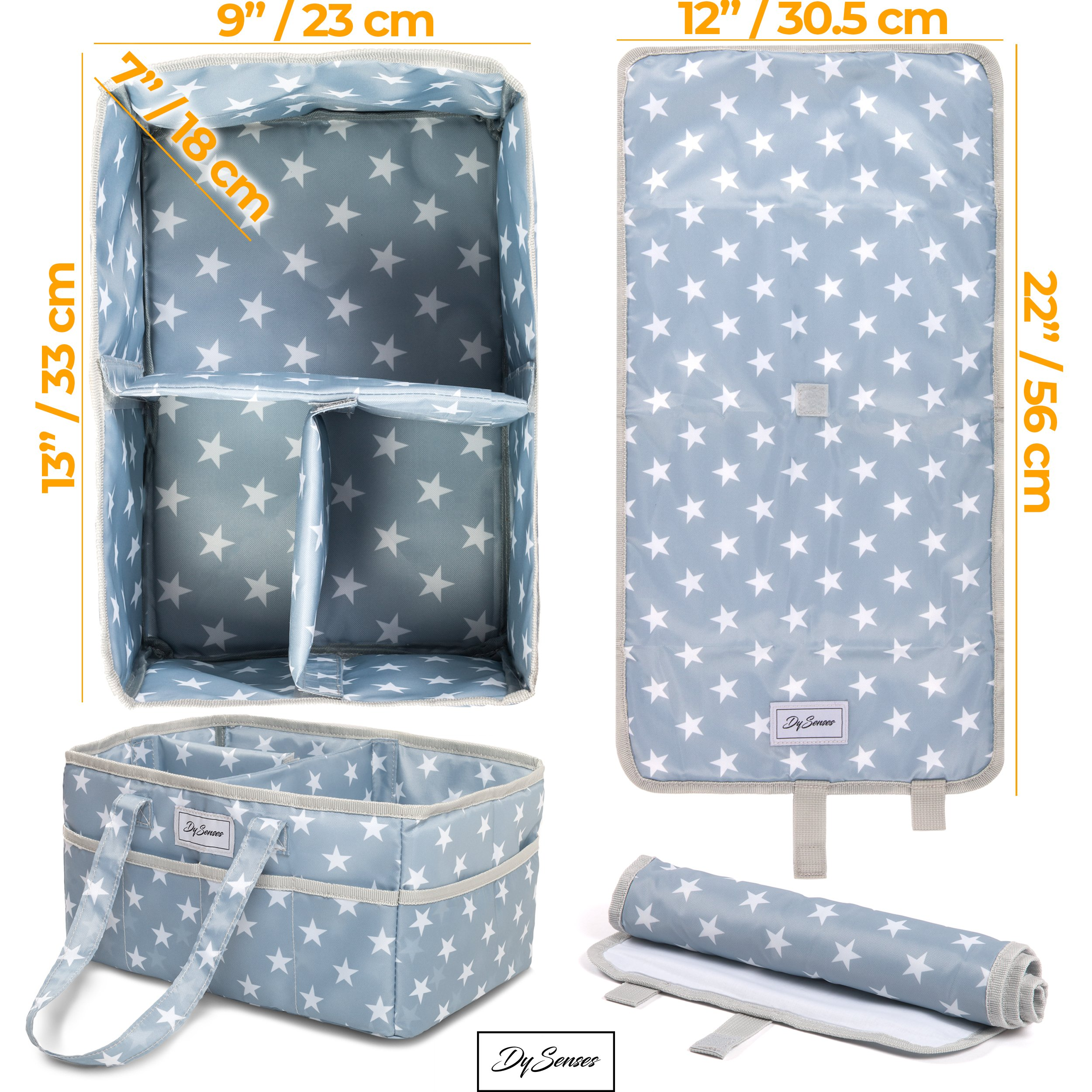 Diaper Storage Caddy Nursery Organizer | Grey Baby Diaper Caddy & Portable Changing Pad | Suitable for Car Travel Picnic & Nursing Station by DySenses (Image #4)