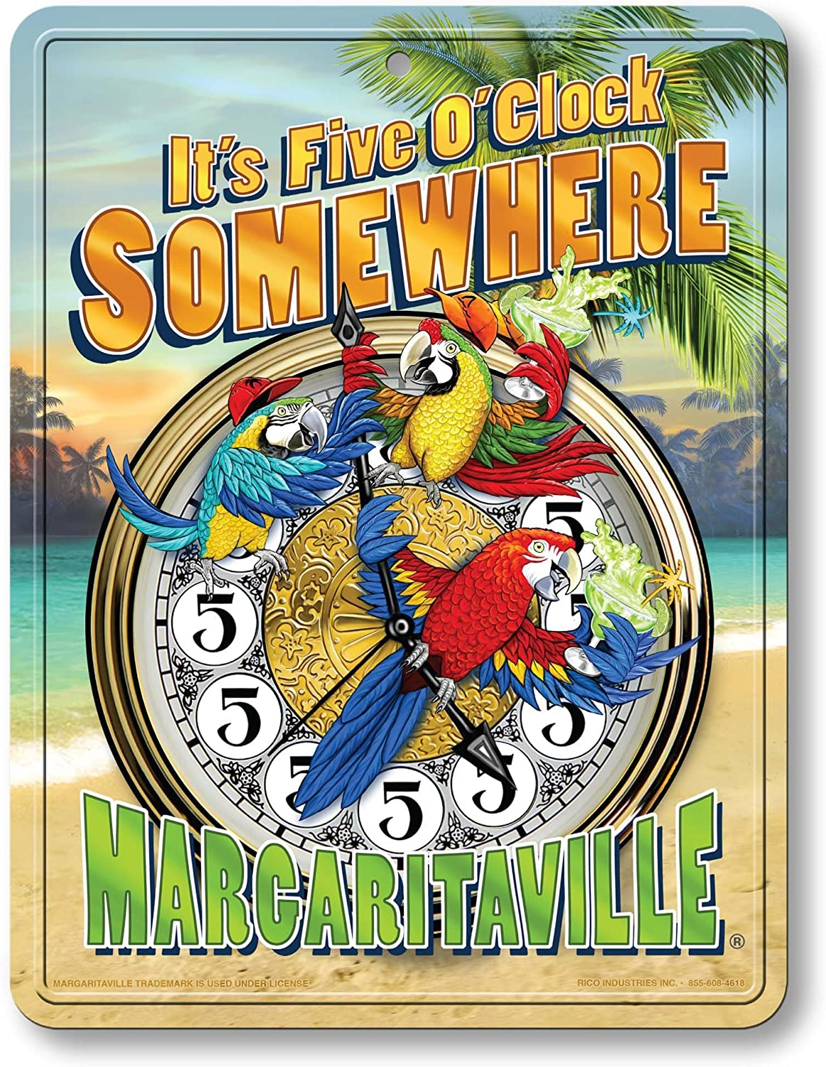 "Rico Industries PSM111125C Margaritaville Metal Parking Sign Décor,Blue, Green,Tan,8.5""/11"""